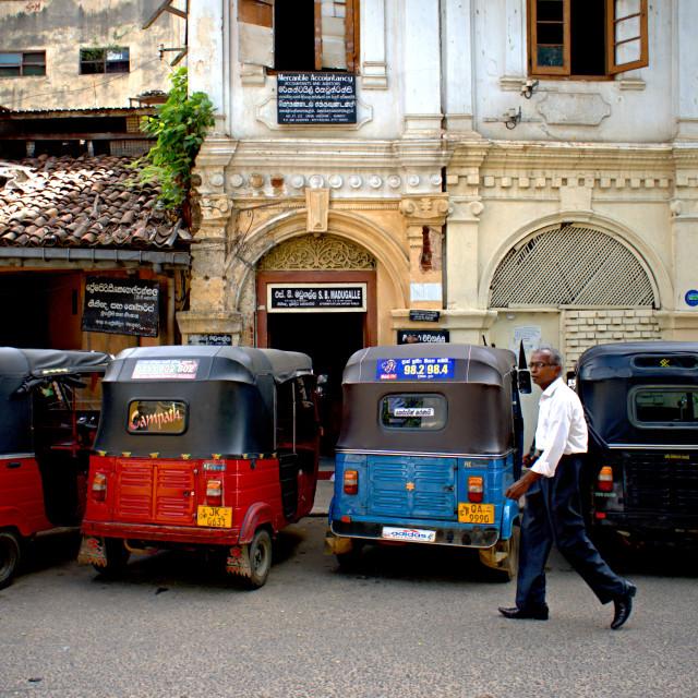 """Tuk-tuks waiting in Kandy"" stock image"