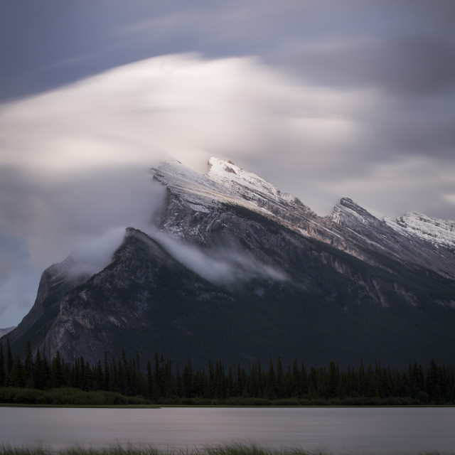 """""""Clouds on Mount Rundle, Vermilion Lakes"""" stock image"""