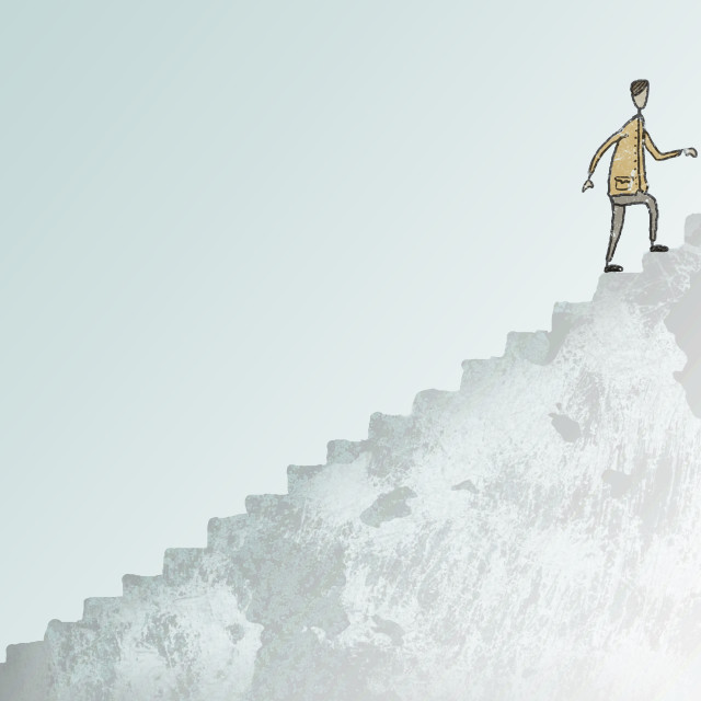 """""""Illustration Of Man Climbing A Large Staircase"""" stock image"""