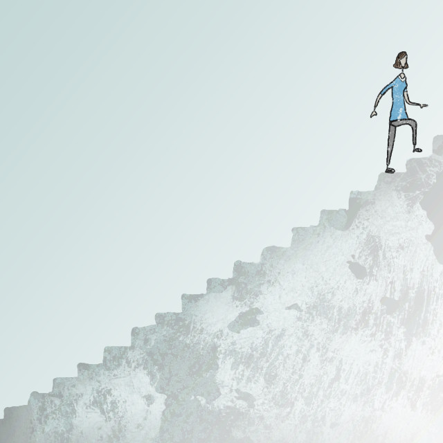 """""""Illustration Of Woman Climbing A Large Staircase"""" stock image"""