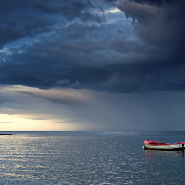 """""""Sunderland, Tyne And Wear, England; Empty Boat Floating In The North Sea"""" stock image"""