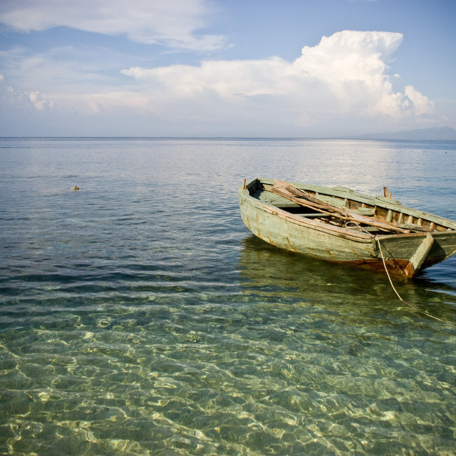 """Boat In Shallow Water, Haiti"" stock image"