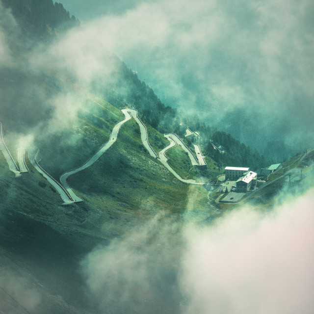 """Stelvio Pass Through The Clouds"" stock image"