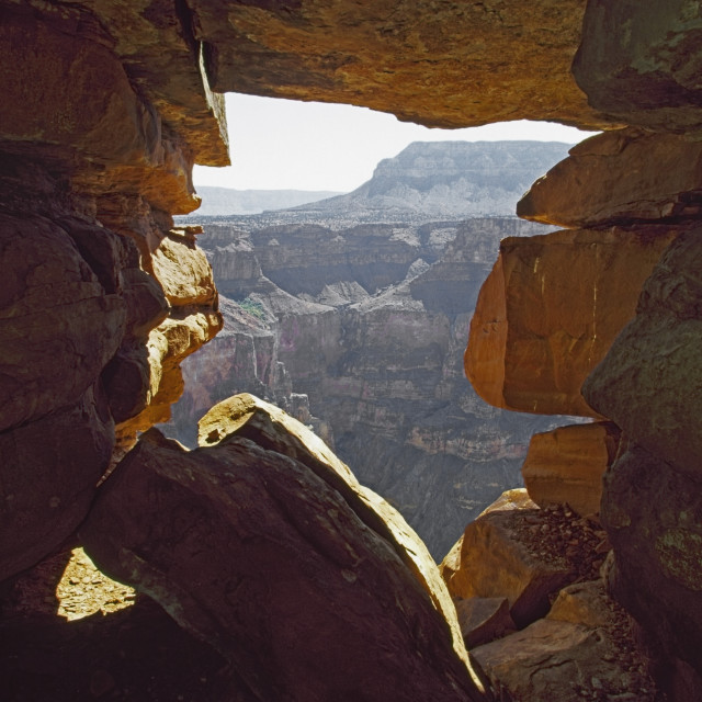 """""""Cave At Toroweap Forms A Natural Window On The Grand Canyon, Arizona, Usa"""" stock image"""