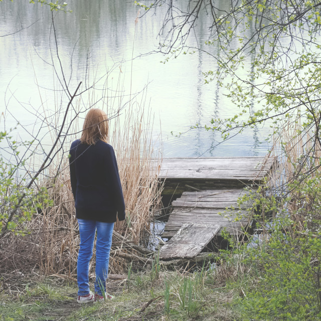 """Woman at the Lake Vertical"" stock image"