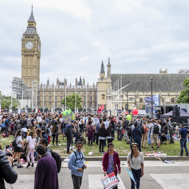 """Political activists at Parliament Square London"" stock image"