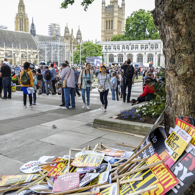 """""""Political placards on floor of Parliament Square"""" stock image"""