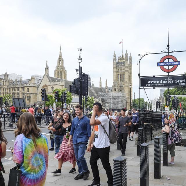 """People in street of London"" stock image"
