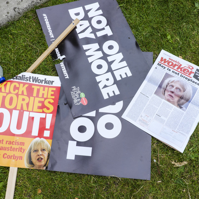 """""""Political placards on ground of Parliament Square"""" stock image"""