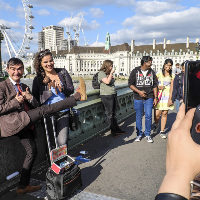 """""""Tourist Posing With Mr Bean Lookalike"""" stock image"""