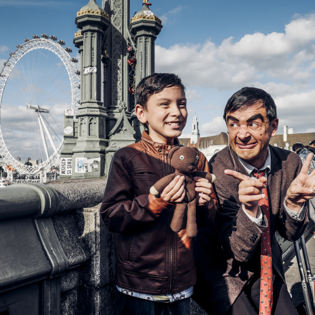 """Happy Boy With Mr Bean Lookalike"" stock image"