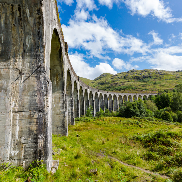 """Glenfinnan historic rail viaduct in Scottish Highlands"" stock image"