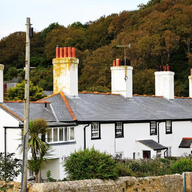 """Old Coastguard Cottages"" stock image"