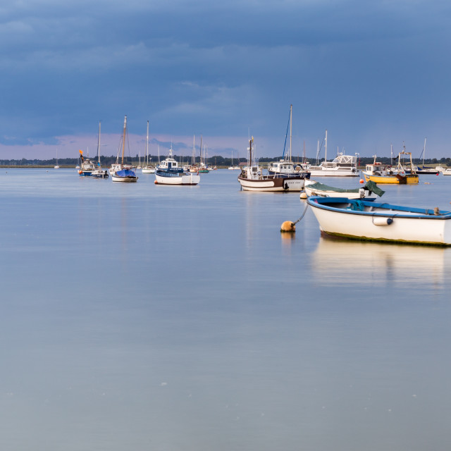 """River Deben evening reflection"" stock image"