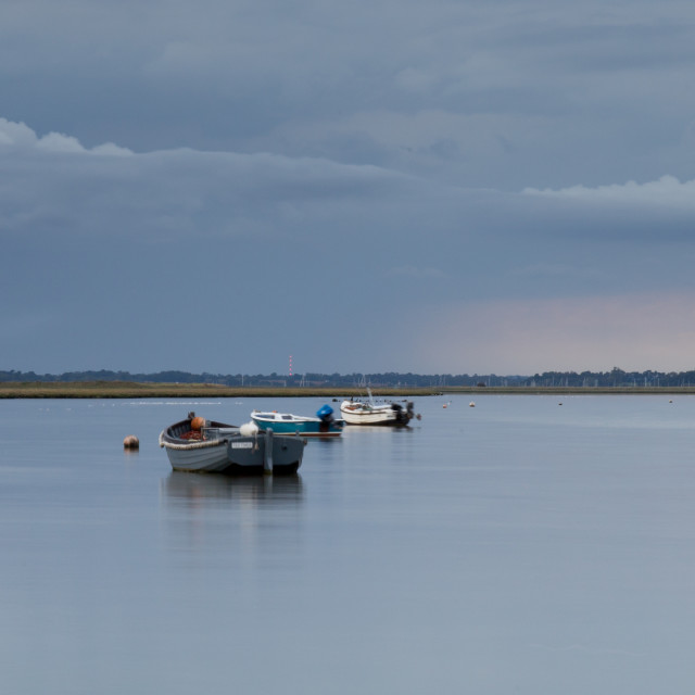 """River Deben evening panorama"" stock image"