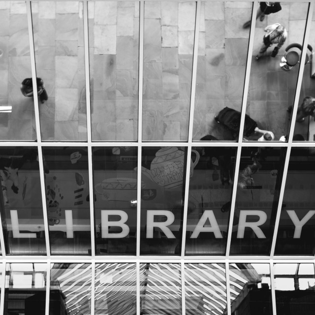 """""""Looking up at the library"""" stock image"""