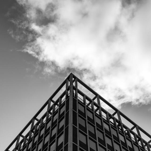 """Building corner & cloud"" stock image"