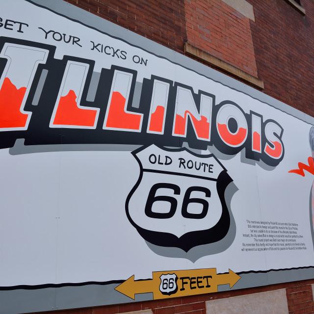 """""""Route 66 mural commemorates the city's role Bob Waldmire."""" stock image"""