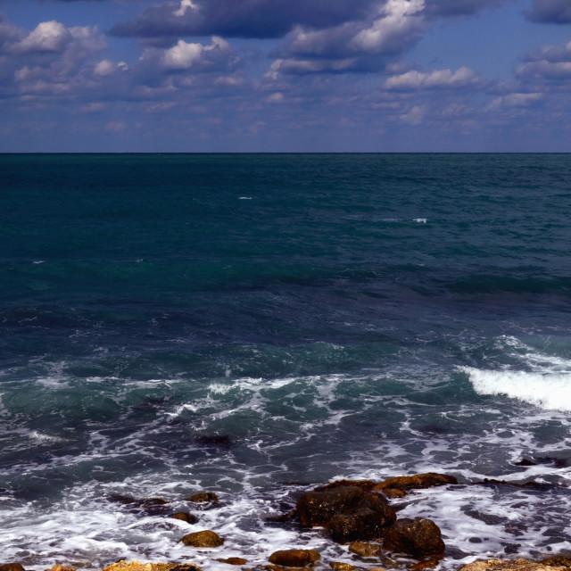 """""""Foaming Sea seen from Stony Coast"""" stock image"""