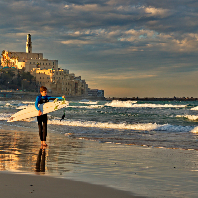 """A surfer at the morning"" stock image"