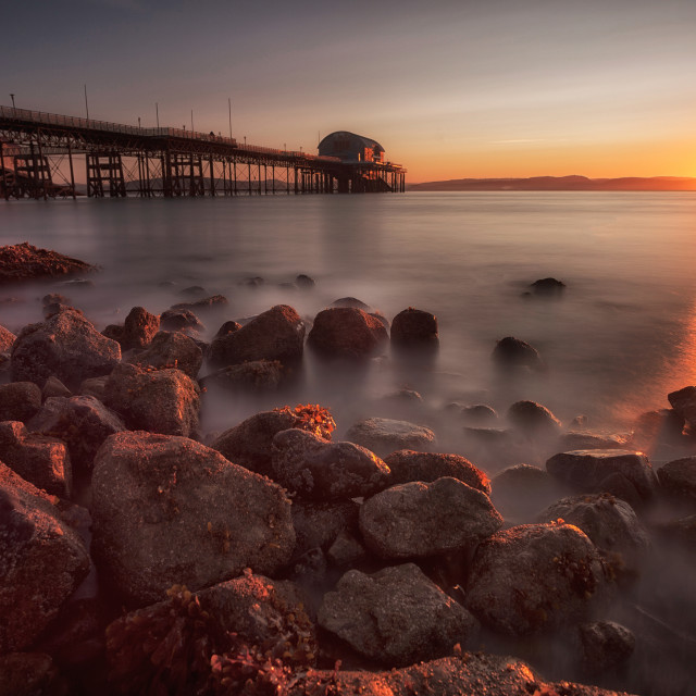 """Sunrise at Mumbles pier"" stock image"