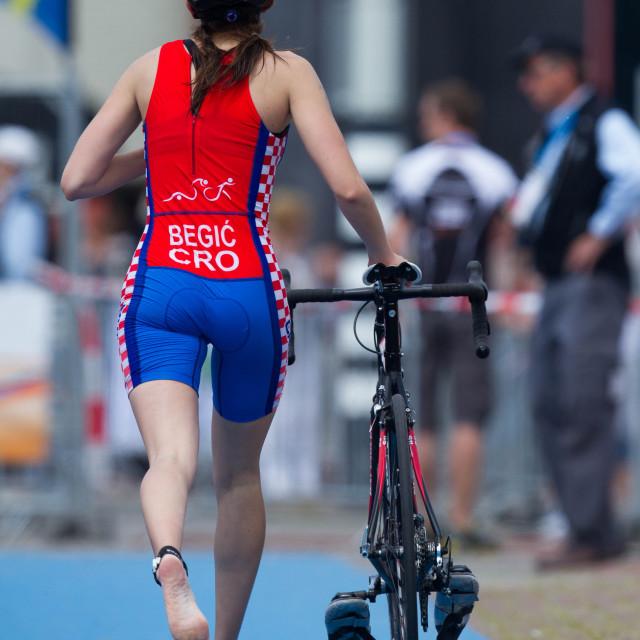 """Triathlon Bike change"" stock image"