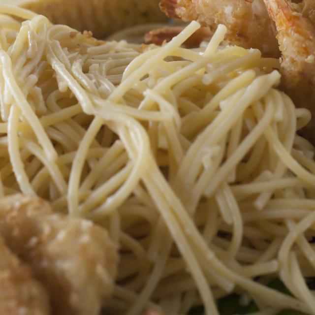 """Shrimp and Spaghetti"" stock image"