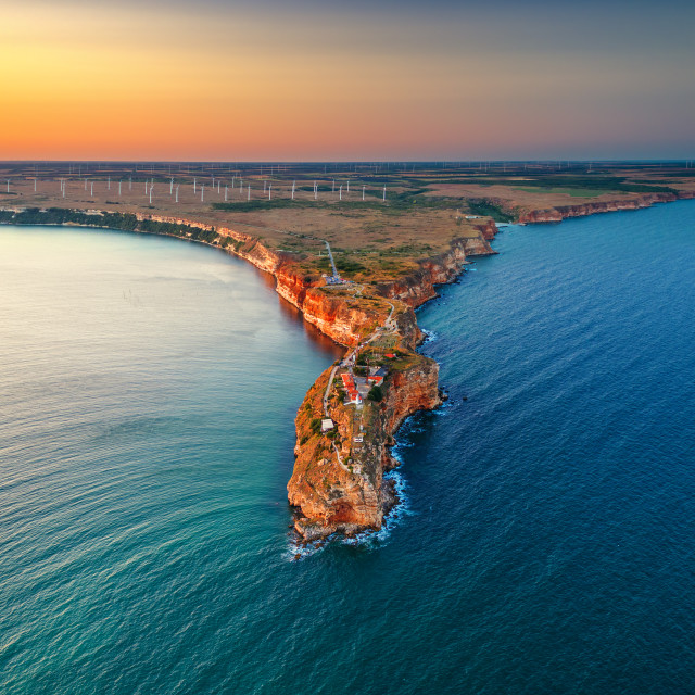 """Aerial sunset view over cape Kaliakra with windmills farm, huge"" stock image"