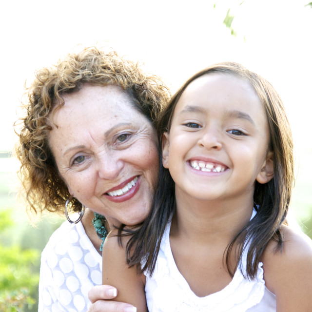 """A portrait of a Grandmother and Grand Daughter."" stock image"