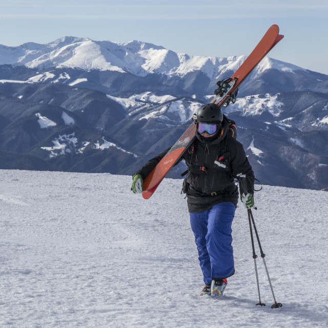 """""""Skier walking towards the top of the mountain while carrying his skis on the..."""" stock image"""