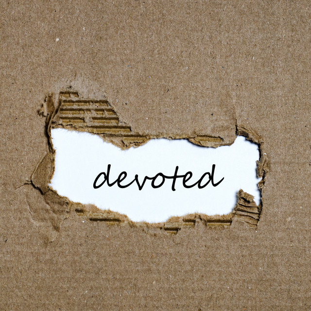 """""""The word devoted appearing behind torn paper"""" stock image"""