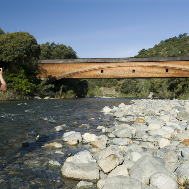 """""""Bridgeport covered Bridge at the South Yuba River State Park"""" stock image"""