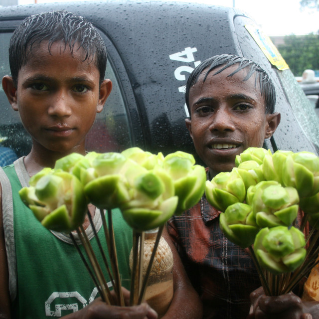 """Street children selling hug-plum sticks. Dhaka, Bangladesh. July 11, 2005."" stock image"