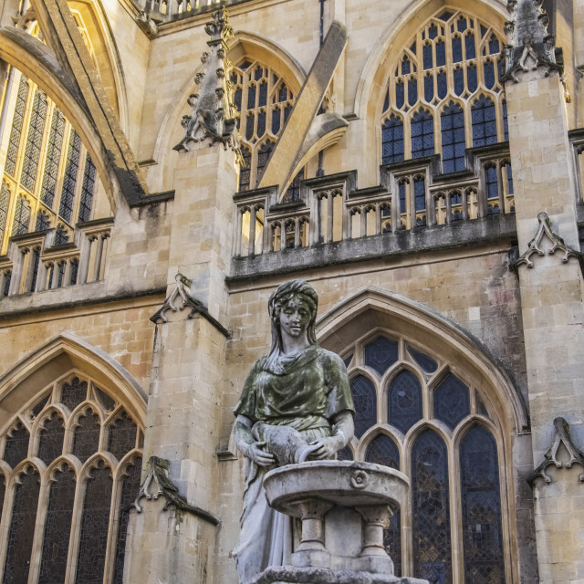 """""""The Rebecca Fountain On The North Side Of Bath Abbey; Bath, Somerset, England"""" stock image"""