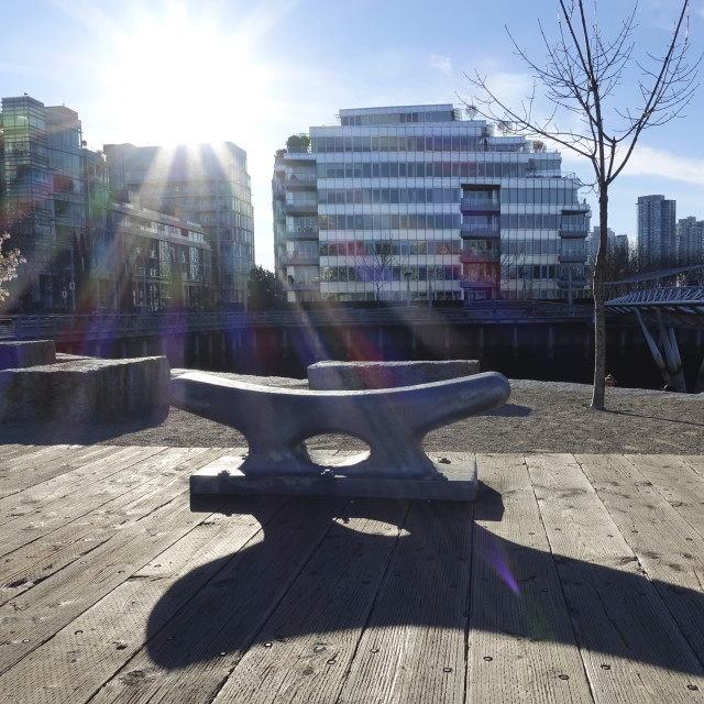 """""""Cleat Bench In Hinge Park Area, False Creek Vancouver Waterfront; Vancouver,..."""" stock image"""