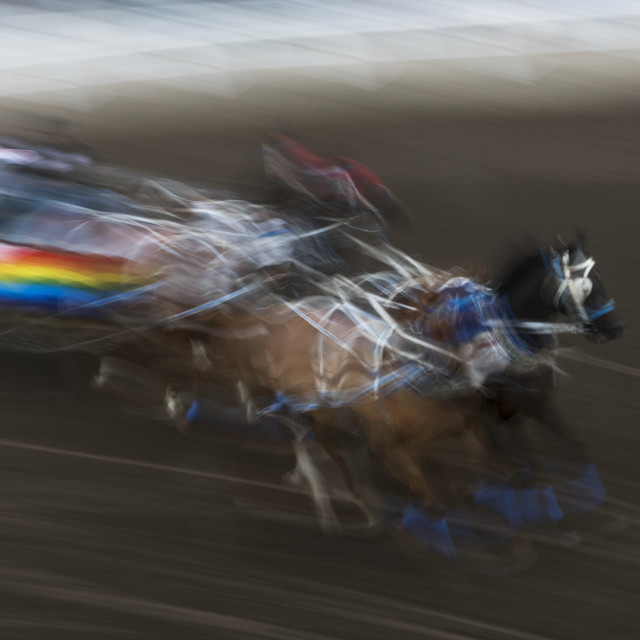 """Blur Of Colour And Motion Of A Chuckwagon Race, Lakeview Calgary Stampede..."" stock image"