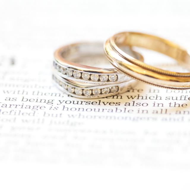 """""""Wedding Bands Placed Over The Scripture Hebrews 13:4; Waco, Texas, United..."""" stock image"""