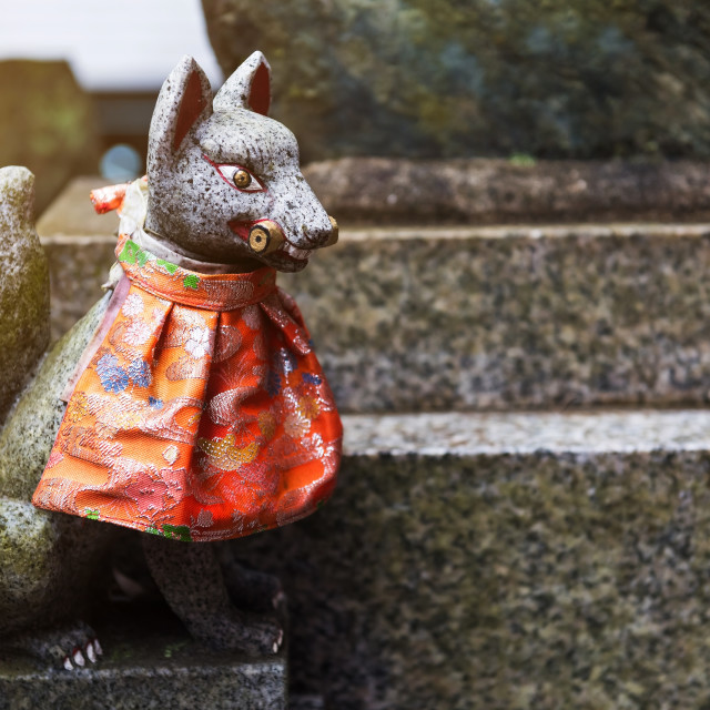 """Fox statue at Fushimi Inari Shrine, Kyoto"" stock image"