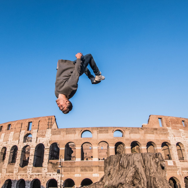 """Backflip out of the Colosseum!"" stock image"