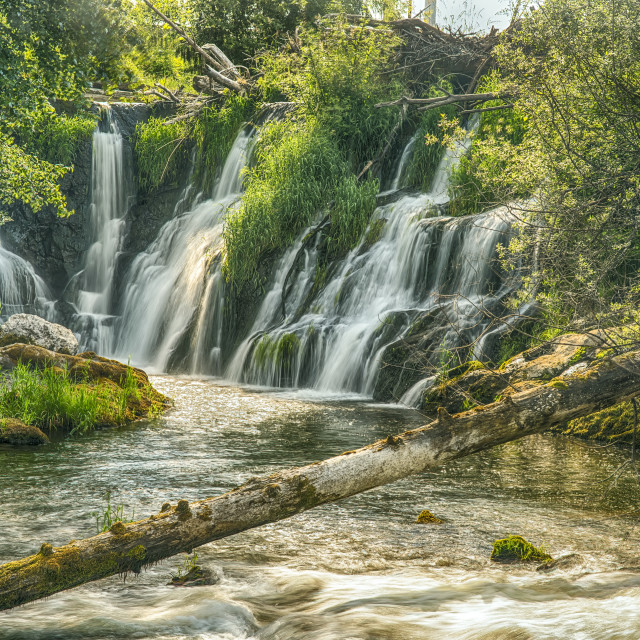 """""""The Deschutes River Falls At The Base Of The Old Olympia Brewery, An Hdr..."""" stock image"""
