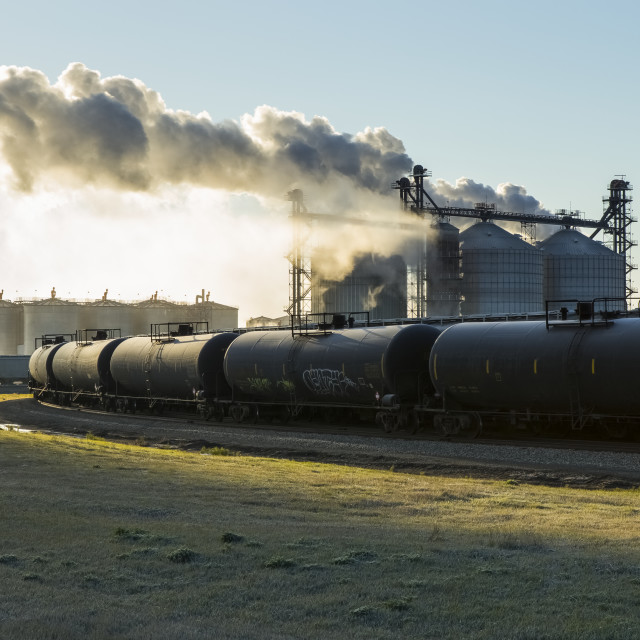 """Railroad Grain And Tanker Cars Will Transport Corn And Ethanol Fuel To Market..."" stock image"