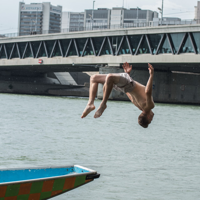 """""""Backflip off a Boat!"""" stock image"""