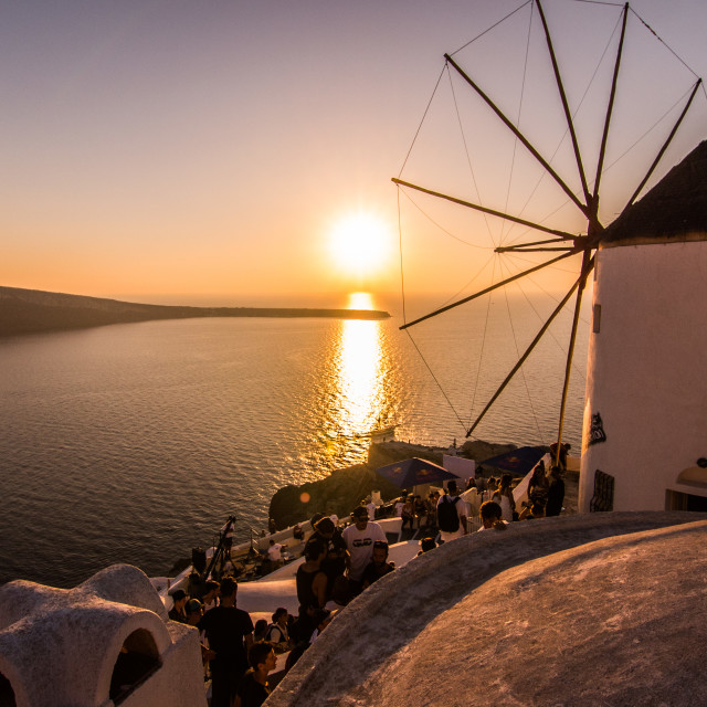"""Santorini Windmill Sunset"" stock image"