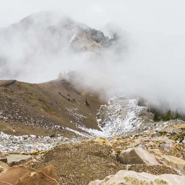 """""""A Viewpoint From The Top Of The Mountain Shows The Trails For Hikers To..."""" stock image"""