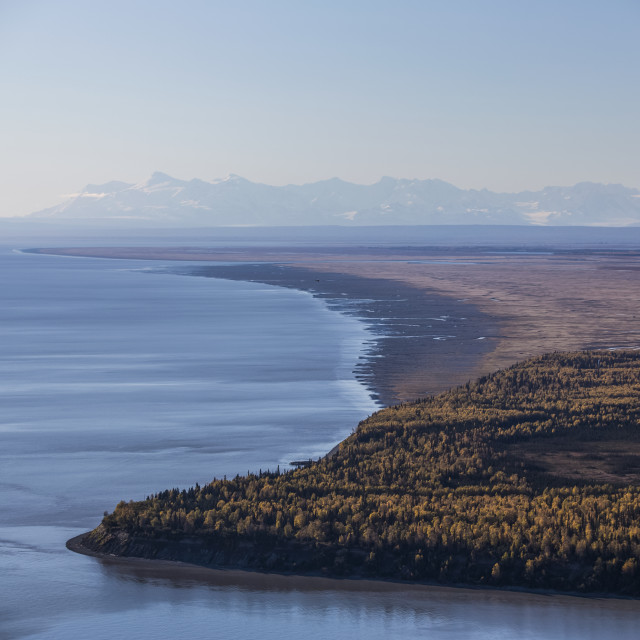 """Cook Inlet And Point Mackenzie On A Clear Autumn Day, The Snow Covered..."" stock image"