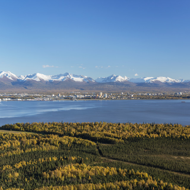 """View Of Downtown Anchorage, Point Mackenzie In The Foreground, The Snow..."" stock image"