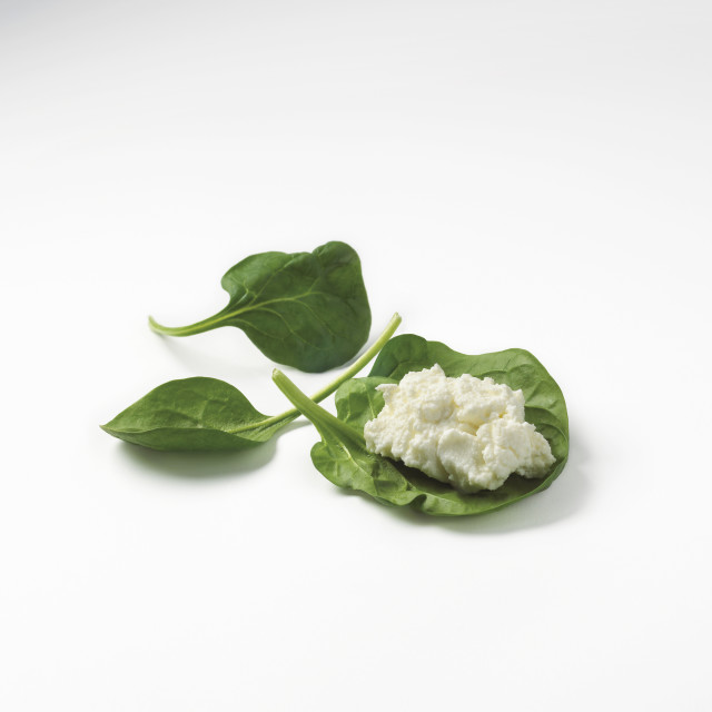 """Ricotta Cheese On A Spinach Leaf Against A White Background"" stock image"