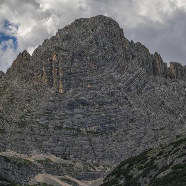 """""""Plate Tectonics At Work, This Folded Mountain In The Italian Dolomites Is A..."""" stock image"""