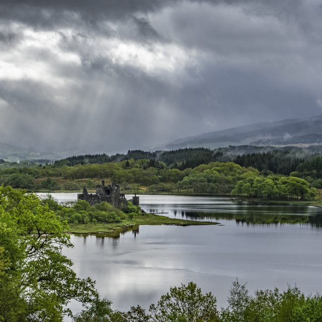 """Sunlight On 15th Century Ruined Scottish Castle On The Banks Of Loch Awe;..."" stock image"
