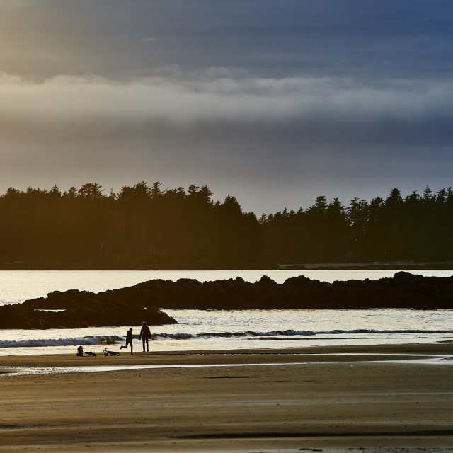 """Silhouette Of A Couple And Their Bikes On Mackenzie Beach At Sunset; Tofino,..."" stock image"